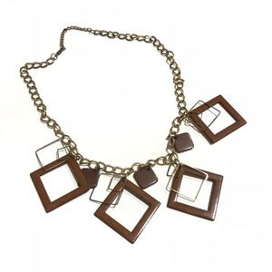 Jewelry - 70's Brass Brown Tone Square Fashion Necklace